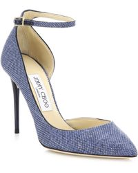 Jimmy Choo | Lucy Suede-trim Raffia D'orsay Ankle-strap Pumps | Lyst