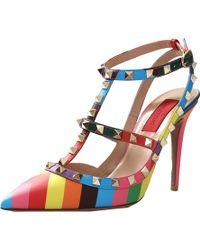 Valentino Ankle Wrap 1973 Rockstud multicolor - Lyst