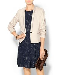 Rebecca Taylor Twill and Leather Blazer - Lyst