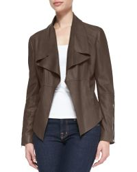 Kors by Michael Kors - Leather Drape-front Jacket - Lyst