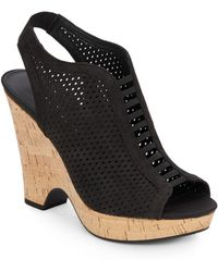Franco Sarto Gizmo Diamond Laser-Cut Leather Wedges - Lyst