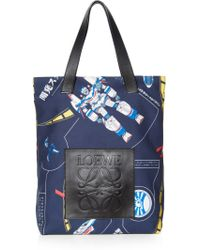 Loewe - Leather-trimmed Printed Cotton-twill Tote Bag - Lyst