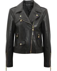 Versace Leather Biker Jacket - Lyst