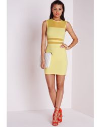 Missguided Mesh Panel Bodycon Dress Lemon - Lyst