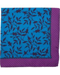 Duchamp Dark Floral-Print Pocket Square - Lyst