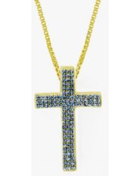 Tateossian | Precious Cross Micro Pavé Necklace In 18k Yellow Gold With 46 0.6ct Blue Sapphires | Lyst