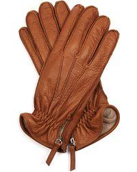 Want Les Essentiels De La Vie Chopin Side-Zip Leather Gloves - Brown