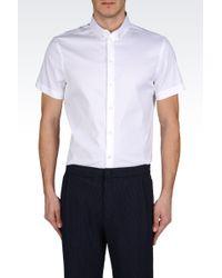 Emporio Armani Short Sleeved Poplin Shirt - Lyst