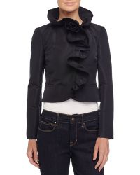 RED Valentino Ruffle-Trim Cropped Jacket black - Lyst