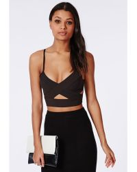 Missguided Cut Out Crepe Bralet Black - Lyst