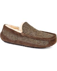 Ugg Ascot Tweed  Suede Moc-toe Slippers - Lyst