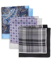 Burma Bibas Printed Silk Pocket Square Set - Multicolor