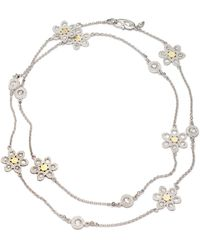 Coomi Opera Silver & Gold Flower Necklace - Metallic