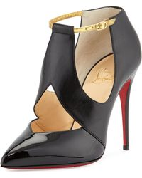 Christian Louboutin Cut-Out Leather Red Sole Pump - Lyst