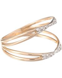 Kismet by Milka - Rose Gold Diamond Lumiere Double Row Ring - Lyst