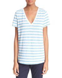 Tory Burch | Stripe Woven Back T-shirt | Lyst