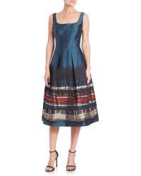 Kay Unger | Printed Jacquard Sleeveless Dress | Lyst