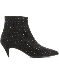Saint Laurent Embellished Suede Ankle Boots - Lyst