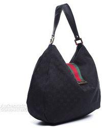 Gucci Pre-owned Black Monogram Canvas New Ladies Web Hobo Bag - Lyst