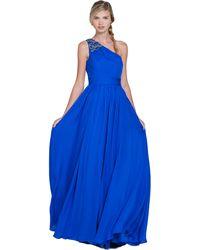 Badgley Mischka Embellished One-Shoulder Evening Gown blue - Lyst