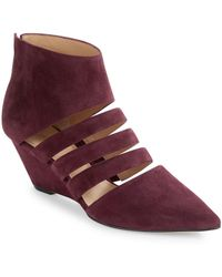 Belle By Sigerson Morrison Wilma Suede Wedges - Red