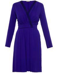 Nina Ricci Deep V-Neck Silk Wrap Dress - Lyst