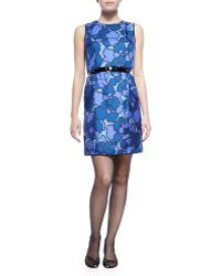 Marc Jacobs Floral-print Silk Sheath Dress with Contrast Back - Lyst