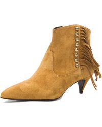 Saint Laurent Studded Fringe Suede Cat Boots - Lyst