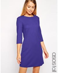 Asos Tall Shift Dress In Textured Rib With 3/4 Length Sleeves - Lyst