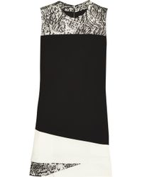 Helmut Lang Layered Satin And Crepe Dress - Lyst