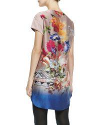 Twelfth Street by Cynthia Vincent Silk Printed Shortsleeve Mini Dress - Lyst