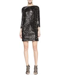 Halston Heritage Sequined Boat-neck Shift Dress - Lyst