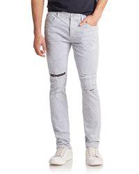 Hudson Sartor Slouchy Skinny Striped Jeans blue - Lyst