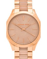 Michael Kors Slim Runway Rose Gold-Toned Stainless Steel Watch - Lyst