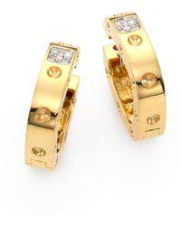 Roberto Coin Pois Moi Diamond & 18K Yellow Gold Hoop Earrings/0.75 - Lyst