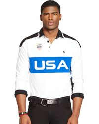 Polo Ralph Lauren Custom Fit Snow Polo Usa Rugby Shirt - Lyst