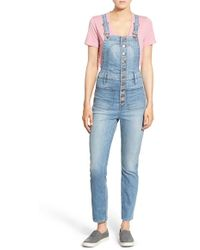 Madewell | Button Front Crop Denim Overalls | Lyst