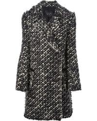 Lanvin Double Breasted Knit Coat - Lyst