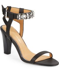 Badgley Mischka Glow Jeweled Ankle Cuff Leather Sandals black - Lyst
