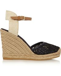 Tory Burch Lucia Leather And Canvas Wedge Espadrilles - Lyst