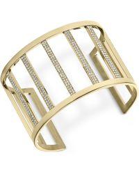 Michael Kors Clear Pavé Wide Bar Open Cuff Bracelet - Lyst