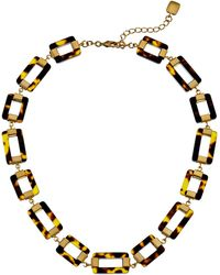 Lauren by Ralph Lauren Bar Harbor 18 Rectangular Tortoise and Metal Link W Ring and Toggle Necklace - Lyst