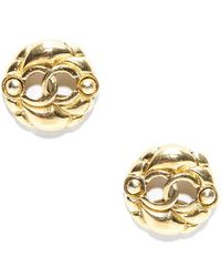 Chanel Preowned Vintage Gold Cc Clip On Earrings - Lyst