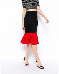 Asos Pencil Skirt in Ponte with Peplum Hem - Lyst