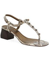Lanvin T-Bar Block Heel Sandals - Lyst