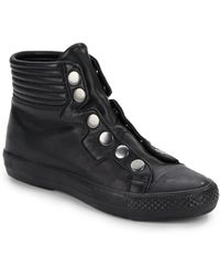 Ash Vespa Snap Front High Top Leather Sneakers - Lyst