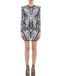 Balmain Tribal Jacquard Mini Dress - Lyst