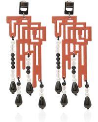 Anna E Alex Large Orange Labirinto Drop Earrings - Lyst