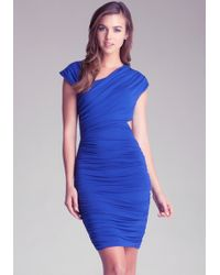Bebe Cut-out Asymmetrical Dress - Blue