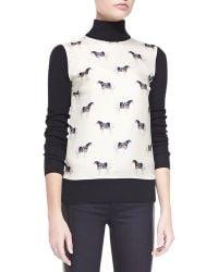 Tory Burch Etty Horse Print Silk Wool Sweater - Lyst